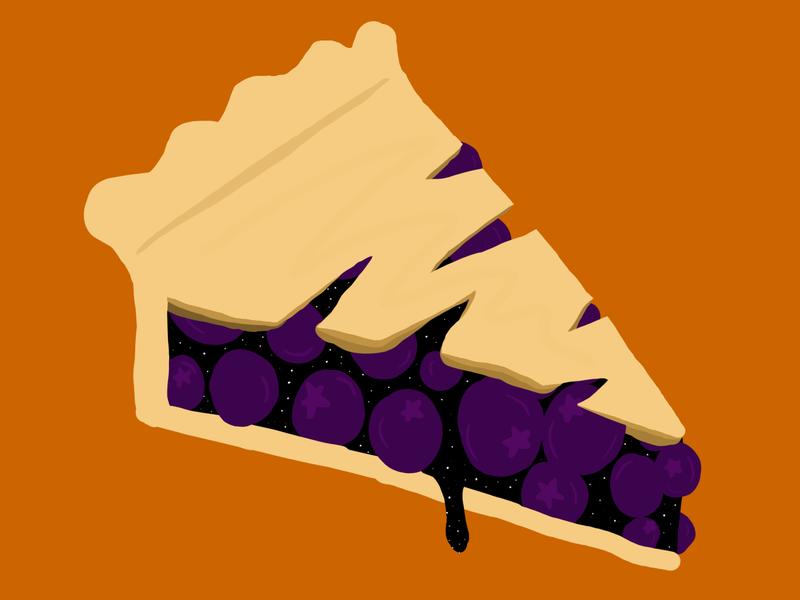 Boo-berry Pie vectober inktober cute design illustration illustrator fruit slice blueberry pie spooky halloween boo pie