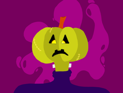 Pumpkin-stein vectober inktober halloween design cute spooky frankenstein pumpkin halloween design character design illustrator illustration