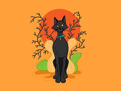 Spooky Kitty halloween design vectober inktober kitty cat black cat halloween character design illustrator illustration design