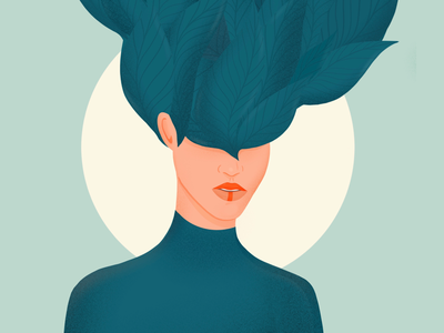 Mother Nature leaves illustration woman