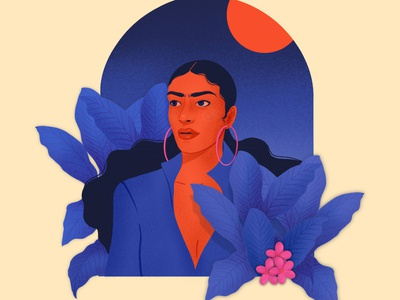 The Eyebrow Lady plants illustration ladies woman
