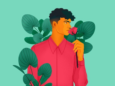 Be my Valentino illustration leaves plants man men