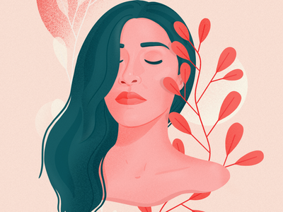 Self-portrait leaves woman planta self-portrait