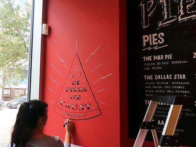 Mad Pie Menu + Mural Design motto restaurant dallas pizza illustration lettering script hand lettering typography