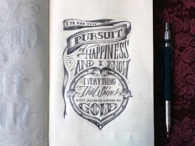 Lettering Lyrics, Kid Cudi - Pursuit of Happiness