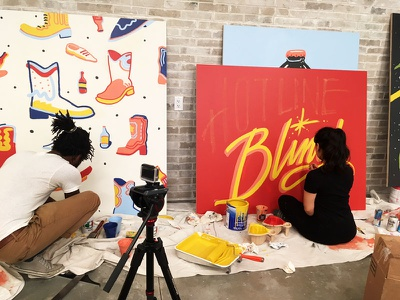 Hotline Bling WIP sign painting common desk coworking mural paint hotline bling drake typography script calligraphy lettering