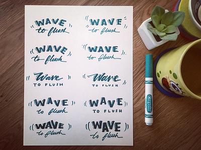 Lettering for restroom stalls flush toilet sign painting handlettering thumbnails script wave lettering