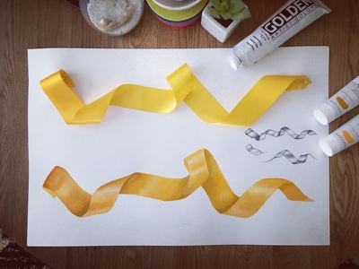 Mural - Ribbon Study restaurant illustration acrylic paint gold ribbon dallas mural