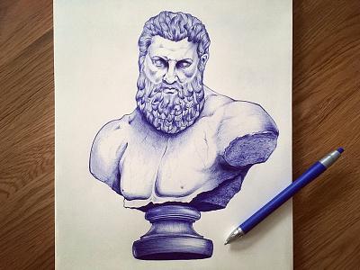 Greek Demigod Heracles muscles beard hair heracles hercules greek roman stone illustration. sculpture drawing bust ballpoint pen