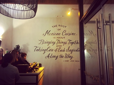 Lettered Quote Mural script mexican cuisine quote chef mexican dallas painting hand painted lettering mural