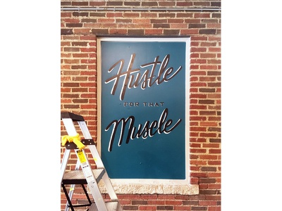 Mural for Magnolia Station Lofts dallas paint gym muscle hustle script lettering typography mural