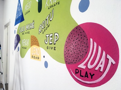 Children's Bilingual Mural Detail shapes illustration community center dallas bilingual albanian kids children patterns colorful mural lettering
