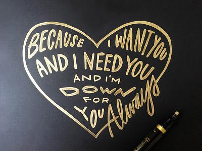 Lettering Lyrics, Drake - In My Feelings gold heart love in my feelings drake lyrics script lettering