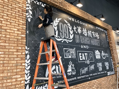 Murals for 99 Ranch Market (Frisco, TX) texas frisco dallas script chinese large scale mural chalk chalkboard market grocery asian games illustration design calligraphy lettering hand lettering