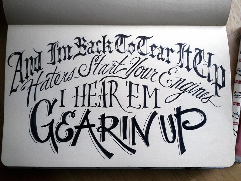 Lettering Lyrics, Kanye hand lettering pen typography sketchbook script kanye west