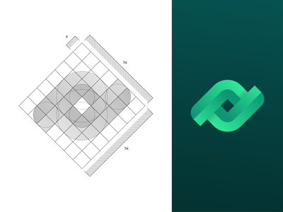 InfiniteSocial (Option 1) - Logo Grid brand identity identity colors dribbble symbol icon geometric branding lines green social infinite mark logo logodesign grid
