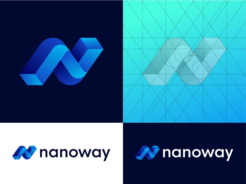 Nanoway - Logo Grid (Option 1) mark logo design branding nanotechnology tech future blue colors gradient gridlines grid transport app delivery invention symbol icon nano logo