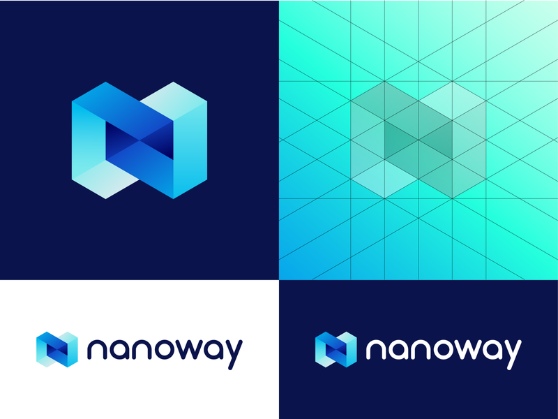 Nanoway - Logo Grid (Option 2) construction inovation science nano future green blue colors gradient symbol technology tech transport delivery logo branding guidelines identity brand grid