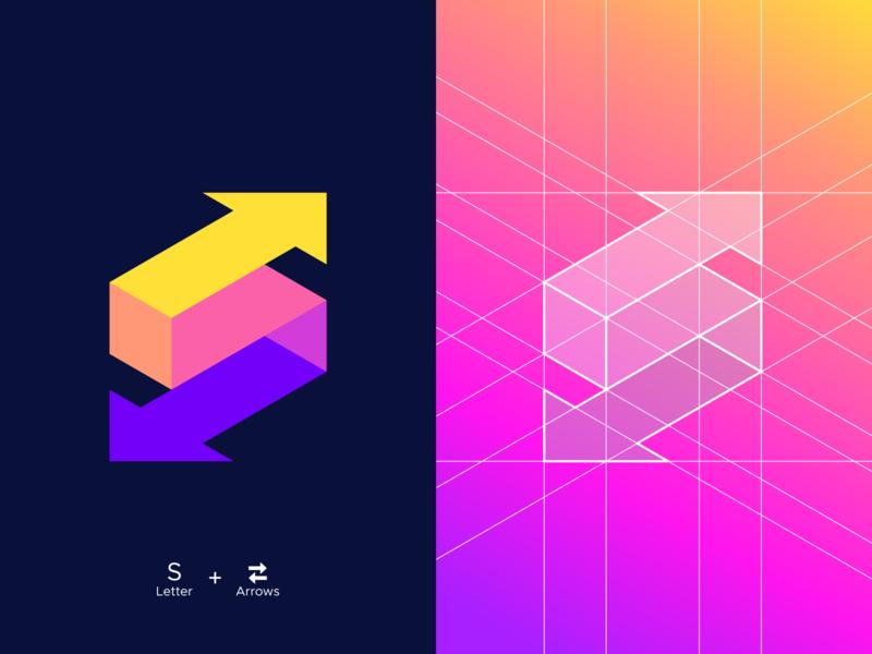 S + Arrows illusion 3d isometric exploration brand identity symbol mark logo branding gradient colors palette grids logo grid letter s abstract arrows colors