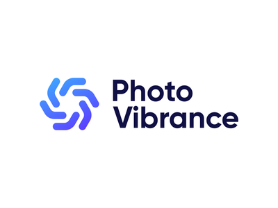 PhotoVibrance Logo Exploration photography process lines brand identity startup photo editing animation software logodesign identity gradient mark symbol tech shutter speed photo logo branding