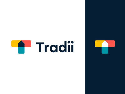 Tradii - Logo Concept 1 t letter t project management software saas construction chat bubbles logomark brand brand identity connection identity colors symbol mark negativespace logodesign logo branding home