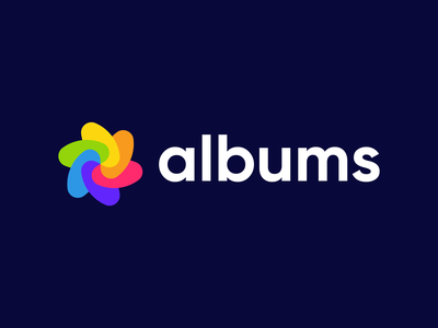 Albums - Logo Concept 1 software app minimal abstract simple symbol mark colorful shapes logodesign logo brand identity branding brand photography photo gallery album