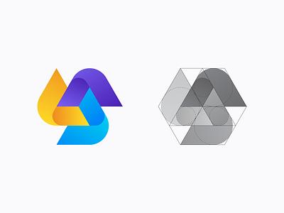 Triangle Logo Exploration exploration arrows tech simple abstract colors gradient symbol mark brand identity identity brand branding logodesign logo lines grid shapes geometric triangle