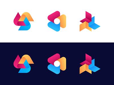 Logo Explorations tech shapes lines process arrows colors gradient exploration simple abstract geometric symbol mark brand identity identity branding brand logodesign logo