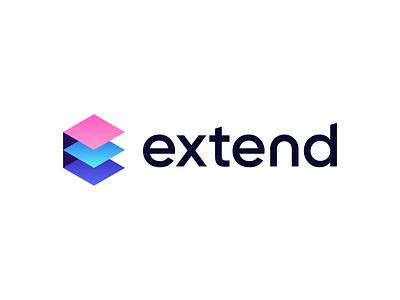 Extend - Logo Exploration extend growth concept exploration e isometric abstract simple geometric layers colors gradient symbol mark brand identity identity branding brand logodesign logo