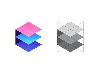 Extend - Logo Grid abstract layers geometric isometric hexagon e exploration construction grid lines symbol mark identity colors gradient brand identity branding brand logodesign logo