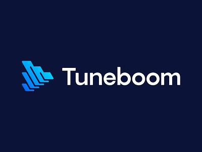 Tuneboom - Logo Concept 2 connection timeline content videos music abstract play button media creators app platform brand identity colors gradient mark symbol brand logodesign logo branding