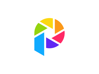 Letter P + Shutter Speed Logo Design simple abstract geometric application app brand identity identity colors process photography exploration p mark symbol photo logo design logo branding brand