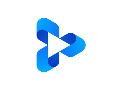 Play Button Logo Concept app icon app video production music platform play play button mark symbol colors gradient logo logo design branding unused for sale premade identity brand