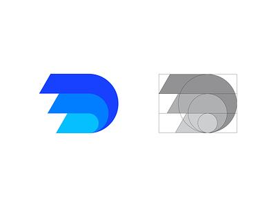 Letter D Exploration identity simple grid sale for sale tech app colors speed motion d letter d exploration mark symbol logodesign logo branding brand