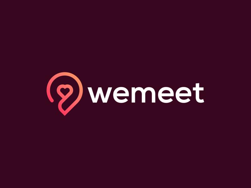 WeMeet - Logo Design sale for sale symbol mark app logo app colorful logo branding pin heart love dateapp dribbble brand identity gradient red
