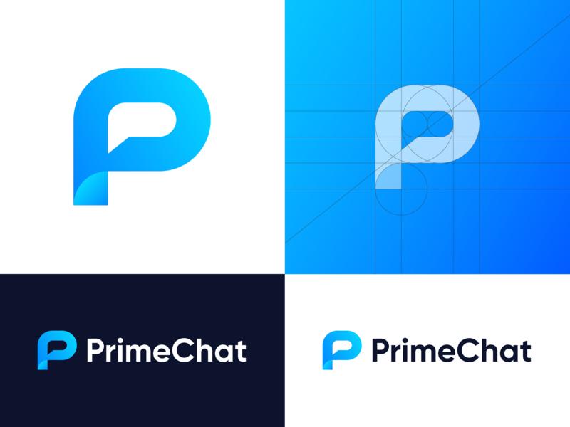 PrimeChat – Logo Design Concept mark illustrator development tech art blue branding design logomark icon messaging chat logodesign presentation gradients dribbble gradient branding and identity identity colors branding