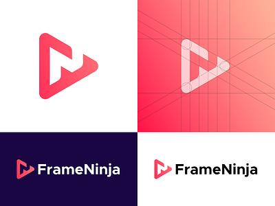 FrameNinja - Logo Design Concept art views video symbol icon mark logo design graphic design play button dribbble live streaming app streaming ninja frame colors gradient branding and identity identity branding