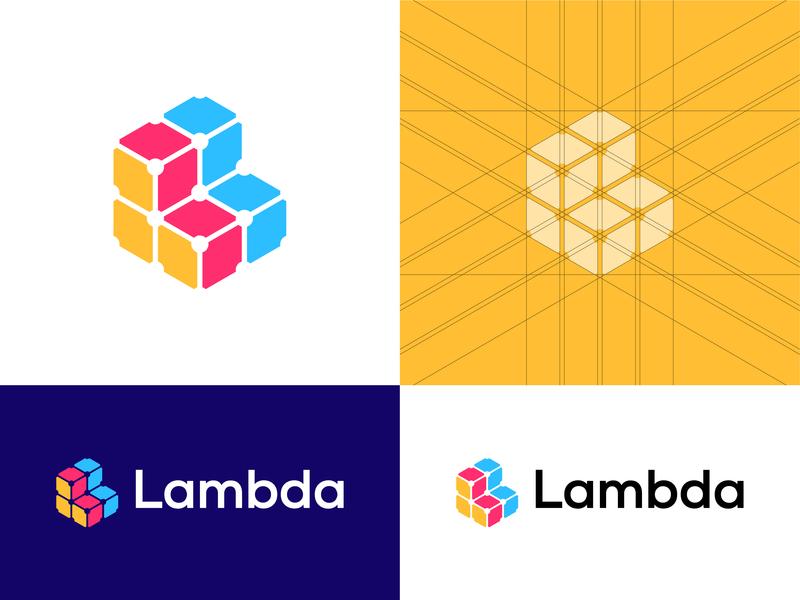 LambdaPass – Logo Design Proposal Option 2 symbol icon symbol programming developer app company mark lambda password software grid colors logo design logo dribbble development tech branding and identity identity branding