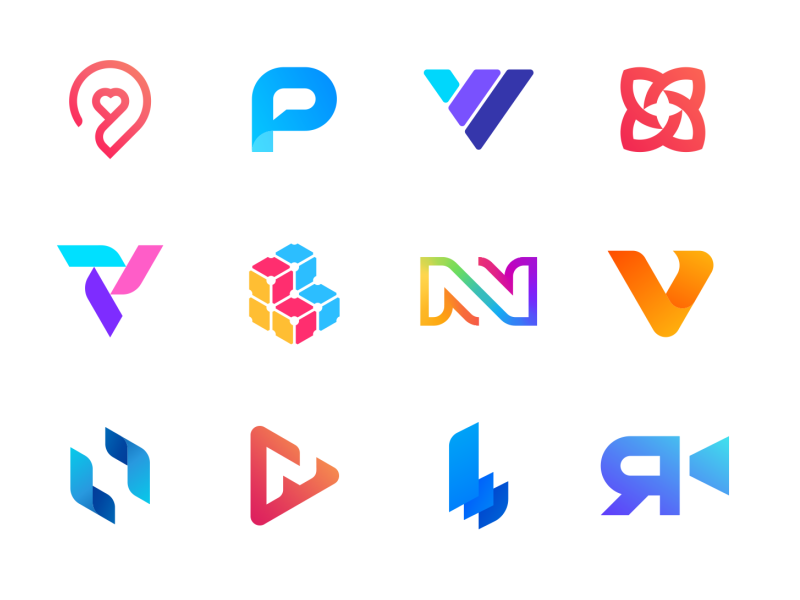 Logo Collection I - Logos, Marks flower 3d gradient colorful geomtric isometric pin love heart dating app letter explorations personal projects marks logos video production technology logo collection identity branding brand