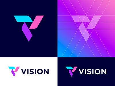 VISION – Logo Grid v logogrid grid letter v letter exploration colors gradient icon symbol dribbble logo mark identity branding logo design vision identity branding