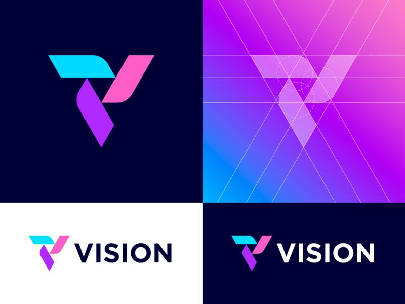 VISION – Logo Grid logogrid grid letter v letter exploration colors gradient icon symbol dribbble logo mark identity branding logo design vision identity branding