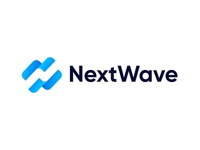 NextWave – Logo Design Concept letter identity savetheplanet blue water speed ocean action colors gradient planet team sea wave logodesign logoconcept logo branding identity branding