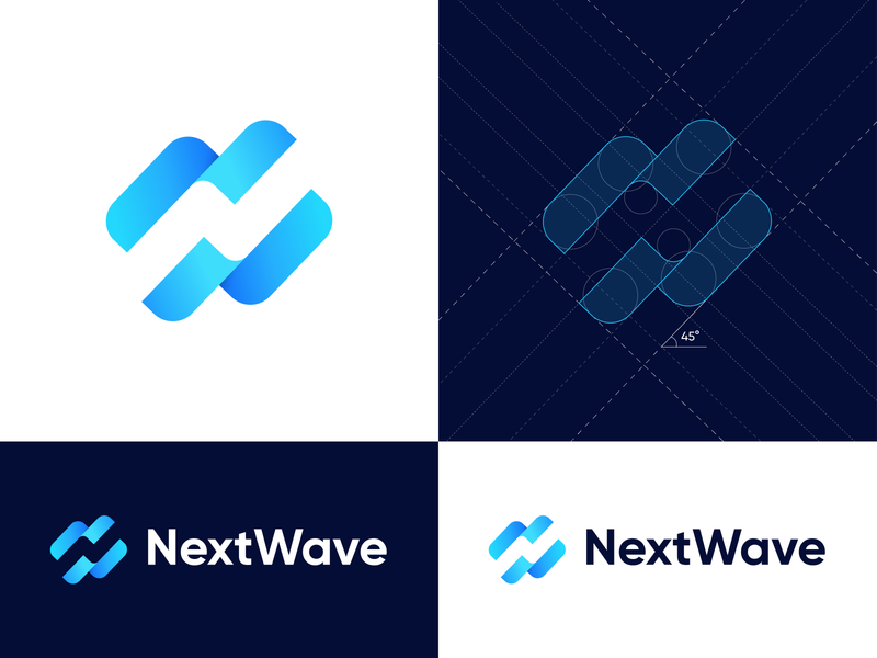 NextWave - Logo Grid speed savetheplanet planet blue grid layout sea ocean water wave brand brand identity colors identity gradient symbol dribbble logo mark branding grid