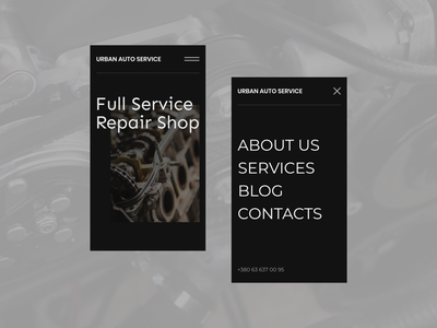 Urban Auto Service | Mobile menu menu design mobile ui mobile design