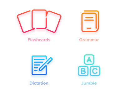 MyEnglish 3 exercises icons pt.1 language ios 11 iphone gradient color shape vector icons ios