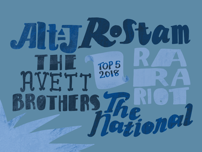My Top 5 Artists - Spotify Wrapped 2018 alt-j rarariot theavettbrothers thenational rostam music lettering typography vector ipad pro procreate illustration apple pencil