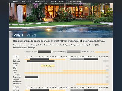 Bookings page for Wilsana calendar bookings