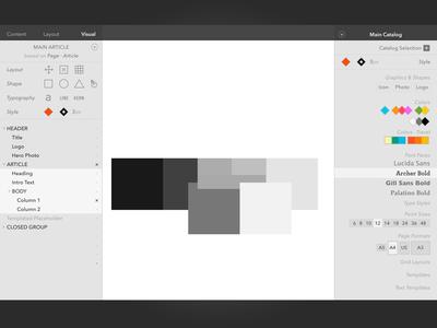 Design for UI Editor code-named 'Fabric' sketch editor ui