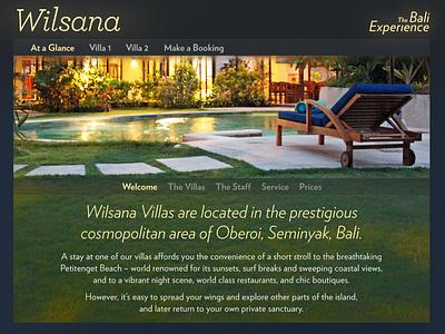 Wilsana welcome page villa website