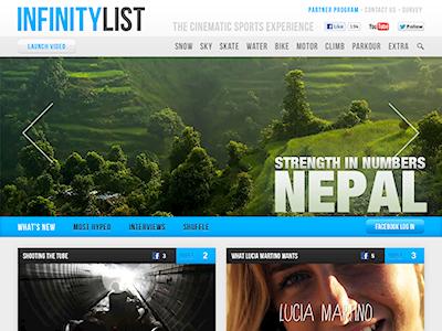 InfinityList.com infinitylist header website blog extreme sports video youtube vimeo web